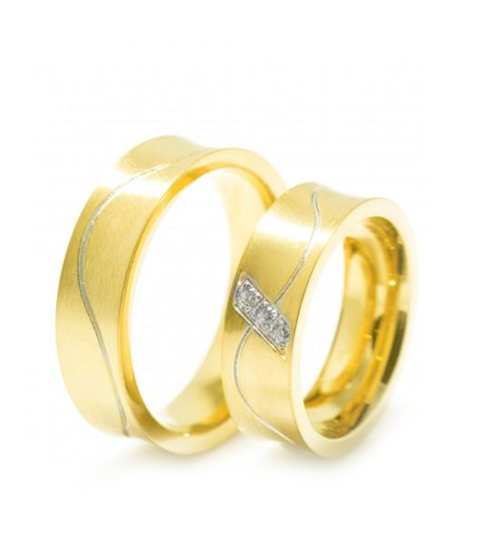 Serendipity Gold Plated Titanium Wedding Ring with Swarovski Crystals