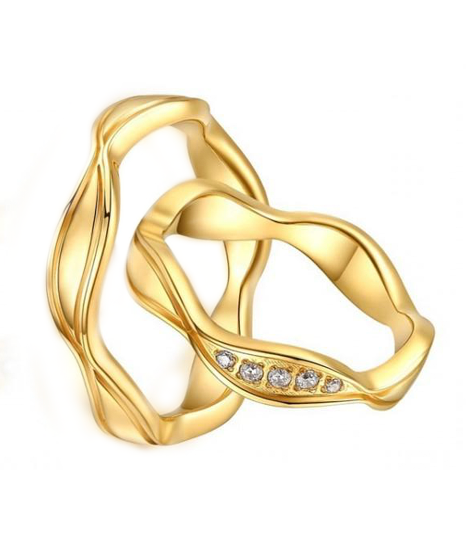 Alexis Gold Plated Titanium Wedding Ring with Swarovski Crystals (Men)