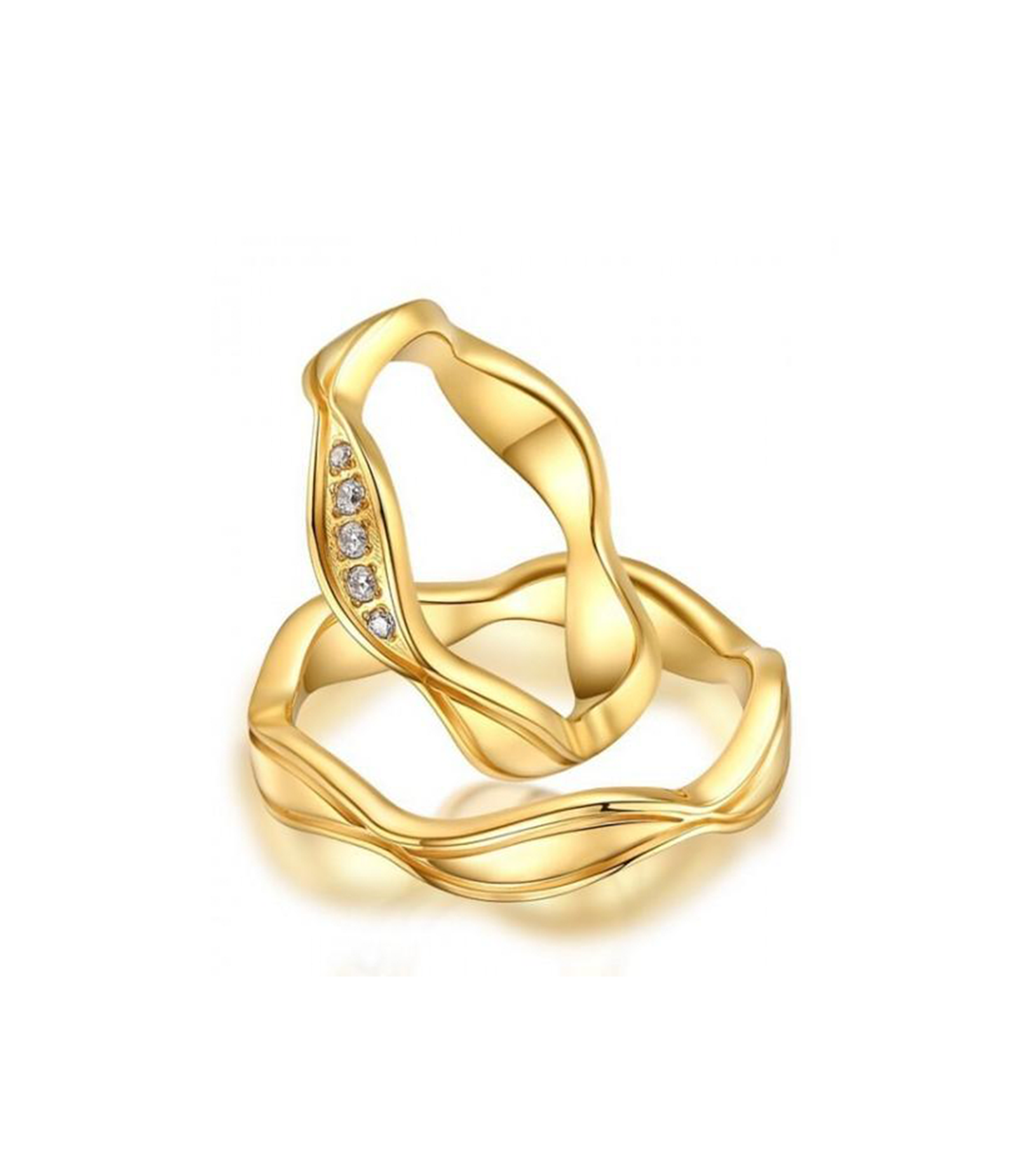 Alexis Gold Plated Titanium Wedding Ring with Swarovski Crystals (Unisex)