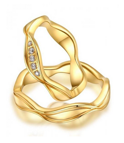 Alexis Gold Plated Titanium Wedding Ring with Swarovski Crystals