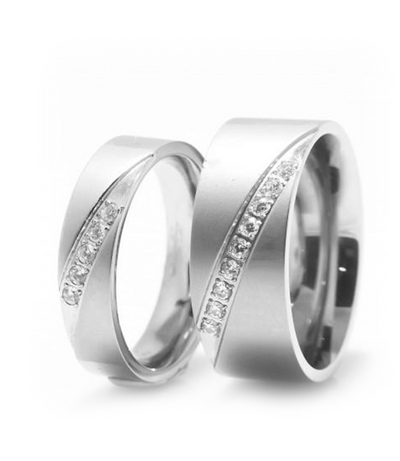 Chantelle Titanium Wedding Ring with Swarovski Crystals