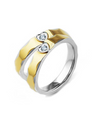 Two Tone Heart Crystal Gold Plated Wedding Ring (Men)
