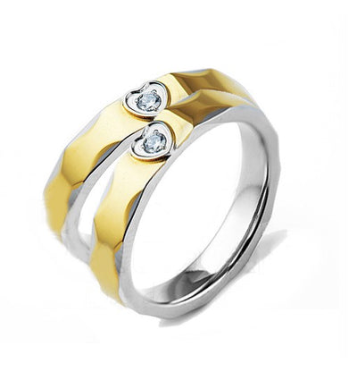 Two Tone Heart Crystal Gold Plated Wedding Ring