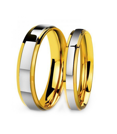 Plain Two Tone Gold Plated Titanium Wedding Bands (Men)
