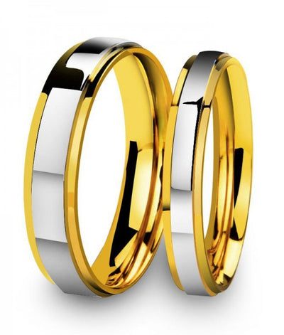 Plain Two Tone Gold Plated Titanium Wedding Bands