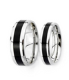 Black Inlay Titanium Wedding Bands