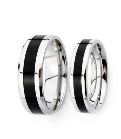 Black Inlay Titanium Couple Ring