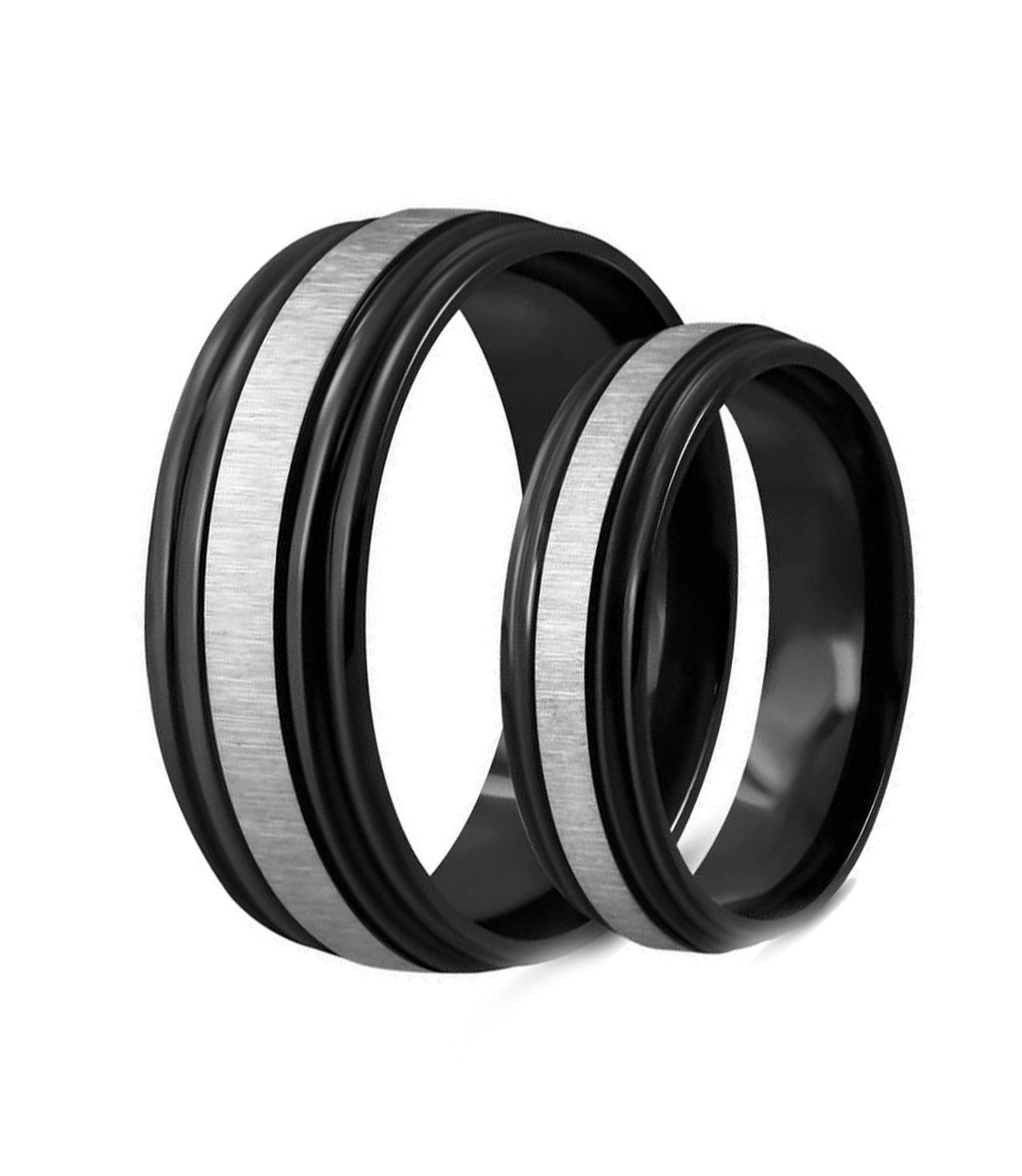 Black Satin Finished Titanium Couple Ring