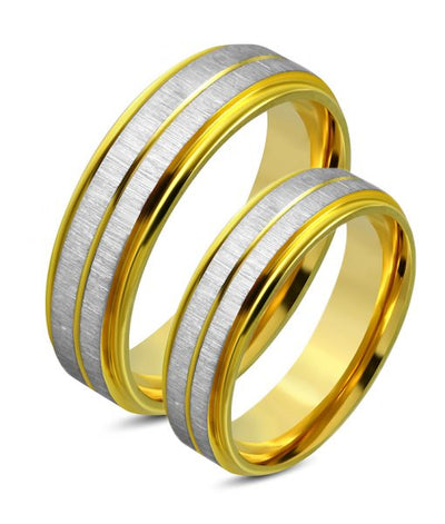Ross Gold Inlay Titanium Wedding Ring (Unisex)