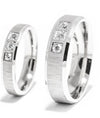 Crystal Inlay Three Stone Titanium Wedding Rings