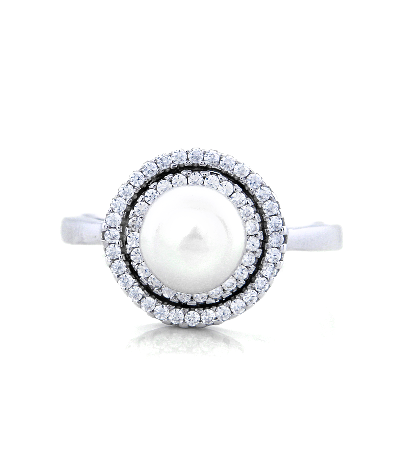 Pearl Crown Engagement Ring with Swarovski