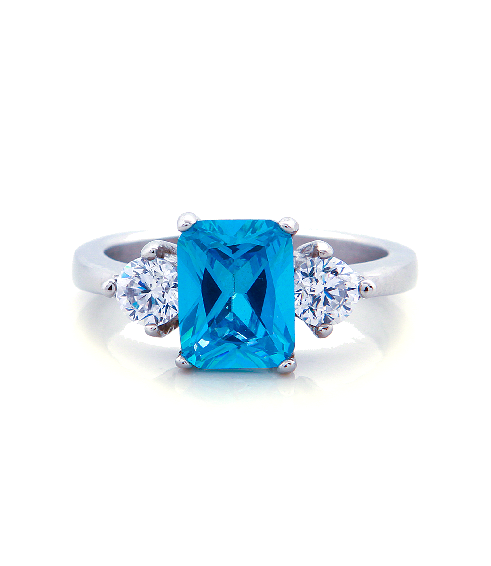 Three Stone Blue Topaz Engagement Ring