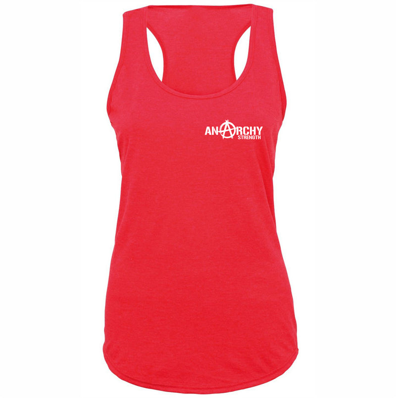 Ladies racerback Red with White logo