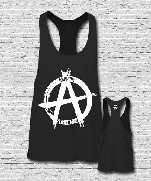 White Logo on Black Muscle Vest