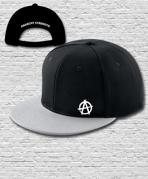 Black Grey Double Embroidered Snapback Cap