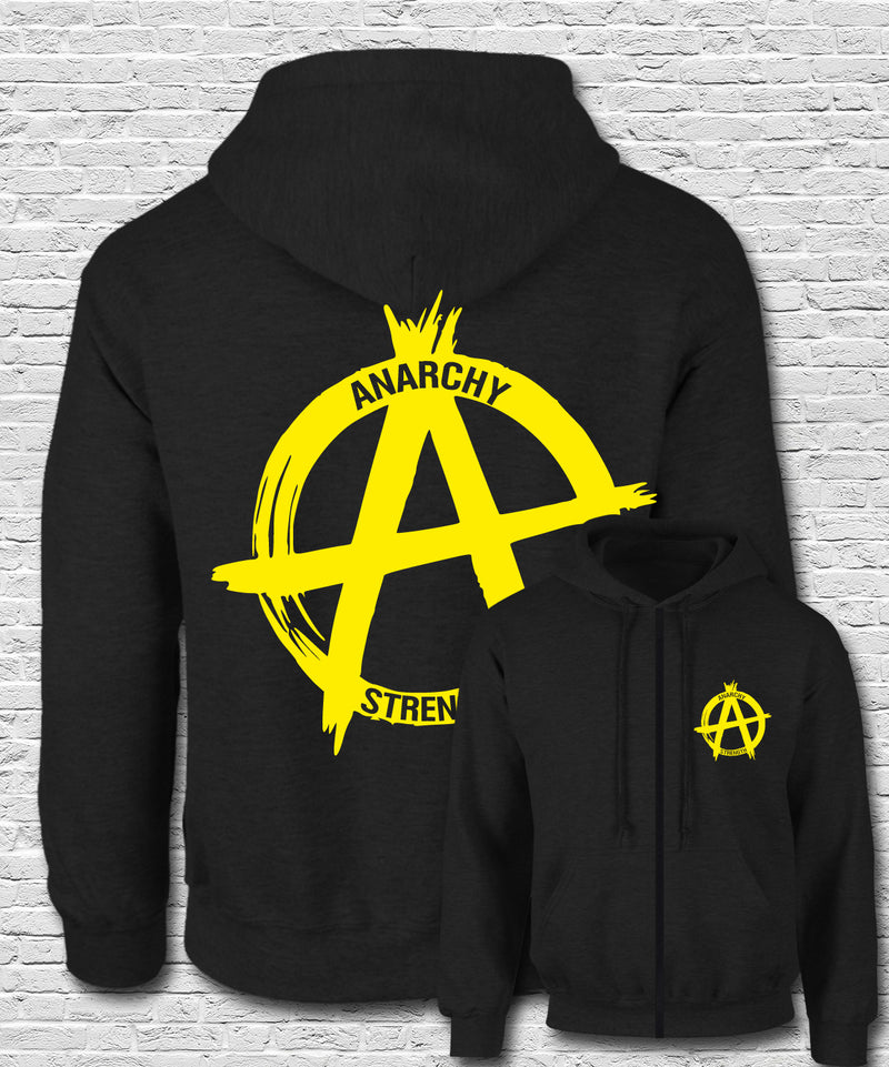 Yellow Logo on Black Zip Hoodie
