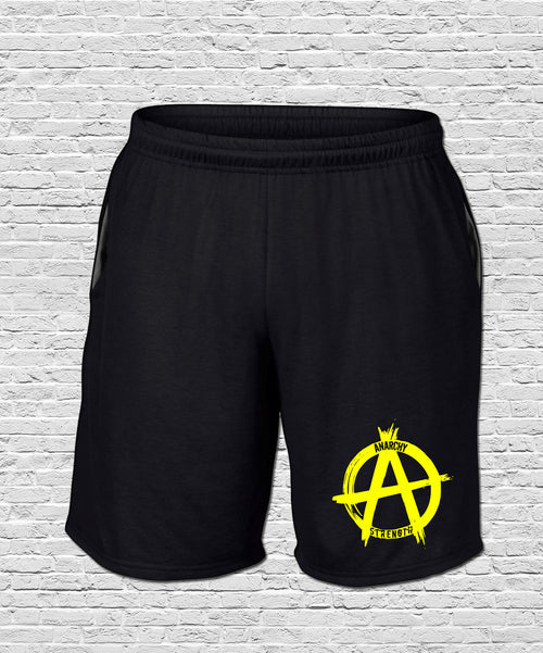 Performance Black Shorts Yellow Print
