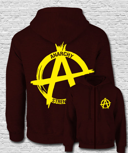 Yellow Logo on Burgundy Zip Hoodie