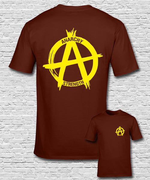 Yellow Logo on a Burgundy T-shirt