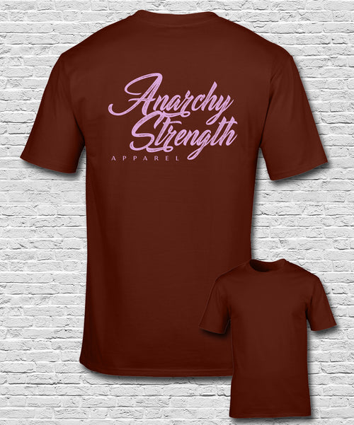 Pink Apparel Logo on Burgundy t-shirt