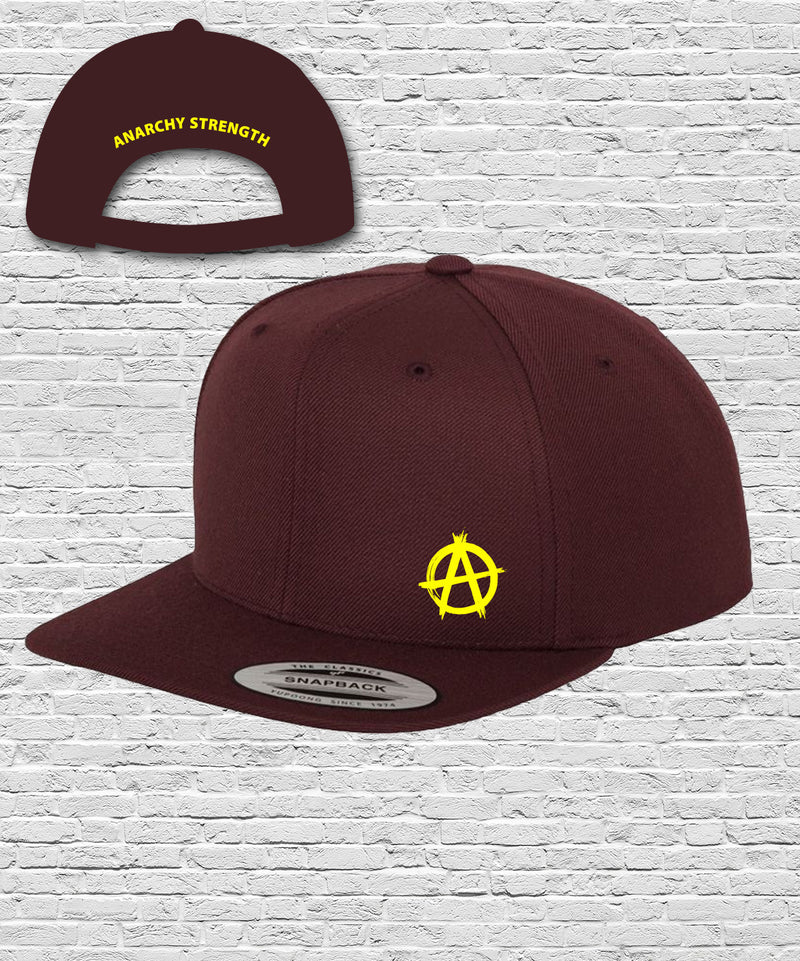 Black Double Embroidered Snapback Cap in Burgundy