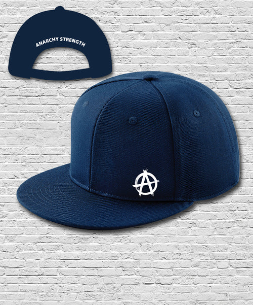 Navy Double Embroidered Snapback Cap