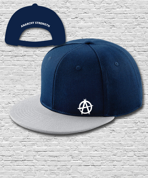 Navy Grey Double Embroidered Snapback Cap