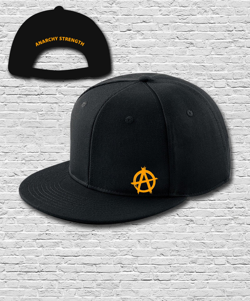 Black Double Embroidered Snapback Cap in Orange