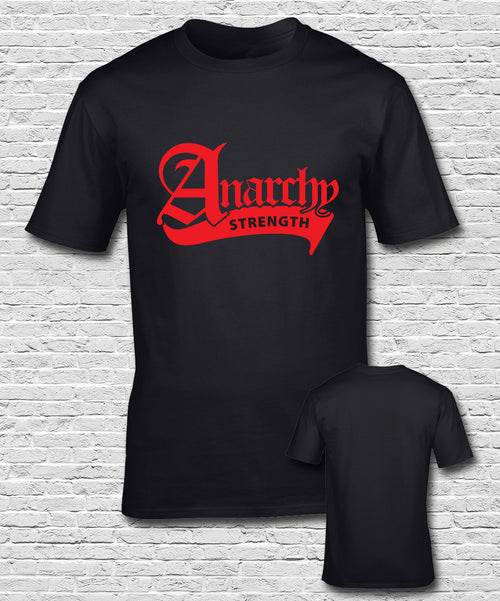 Red Large Ribbon Logo Black T-shirt