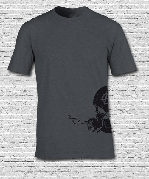 Side Printed Black Smoking Skull on Charcoal Tshirt