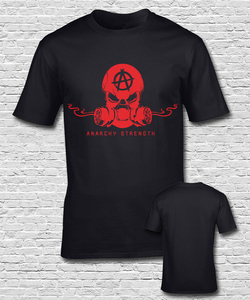 Red Smoking Skull on Black T-shirt