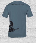 Side Printed Black Smoking Skull on Stone Blue T-shirt