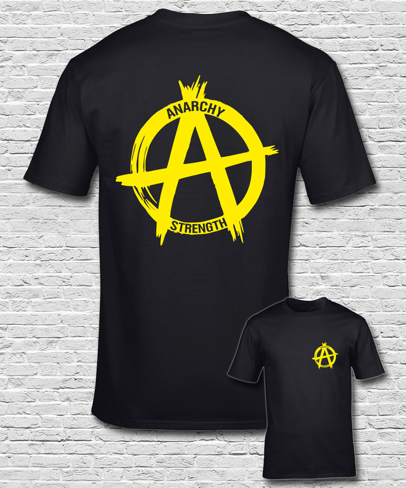 Yellow Logo on a Black T-shirt