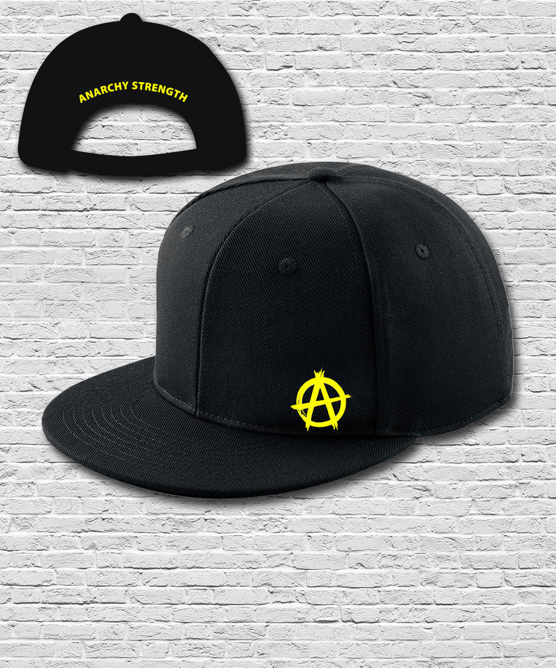 Black Double Embroidered Snapback Cap in Yellow