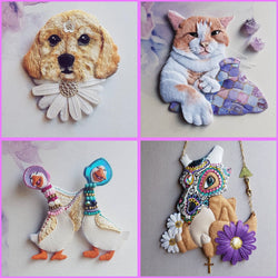 CUSTOM COMMISSION Handmade Fabric Jewellery & Art (Made To Order) - Triangle of Bears