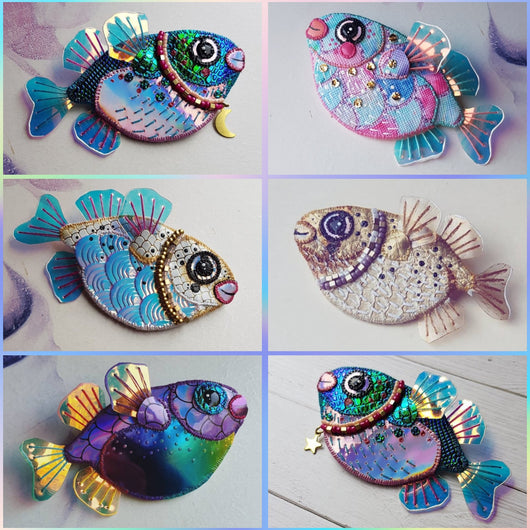 CUSTOM MAGICAL PUFFER FISH Handmade Fabric Brooch (Made to Order) - Triangle of Bears
