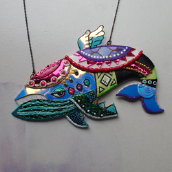 DAY 21 - THE DREAMING WIND FISH FROM LINK'S AWAKENING Handmade Fabric Necklace - Triangle of Bears