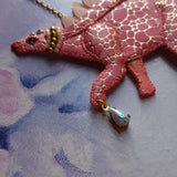 DAY 9 - PUNK ROCK DINO Handmade Fabric Necklace - Triangle of Bears