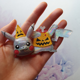 DAY 2 - HEADLESS HALLOWEEN-PARTY PIKACHU Handmade Fabric Necklace - Triangle of Bears