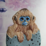 DAY 7 - SNUB NOSED EGG MONKEY Handmade Fabric Brooch