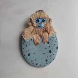 DAY 7 - SNUB NOSED EGG MONKEY Handmade Fabric Brooch - Triangle of Bears