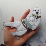 DAY 8 - WINTER PRINCE POLAR BEAR Handmade Fabric Necklace