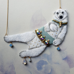 DAY 8 - WINTER PRINCE POLAR BEAR Handmade Fabric Necklace - Triangle of Bears