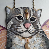 DAY 12 - MYSTICAL LUNA FISHING CAT Handmade Fabric Necklace