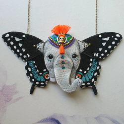 DAY 21 - BUTTERFLY-WING EARED GANESH: THE GOD OF BEGINNINGS & REMOVER OF OBSTACLES Handmade Fabric Necklace - Triangle of Bears