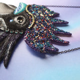 MAGICAL MIDNIGHT ROOSTER Handmade Fabric Necklace - Triangle of Bears