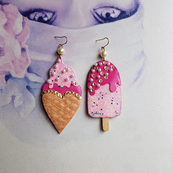 ICY TREATS Handmade Fabric Earrings - Triangle of Bears