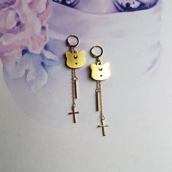 GOLD MYSTIC MOON CATS Handmade Earrings - Triangle of Bears