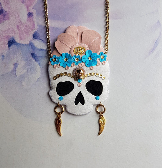 DAY 3 - FRIDA FLOWER MEMENTO MORI SKULL Handmade Fabric Necklace - Triangle of Bears