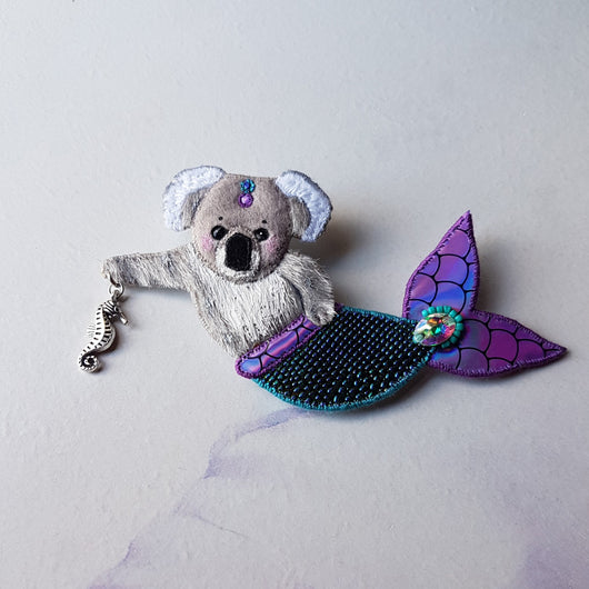 DAY 5 - KOALA MERMAID Handmade Fabric Brooch - Triangle of Bears